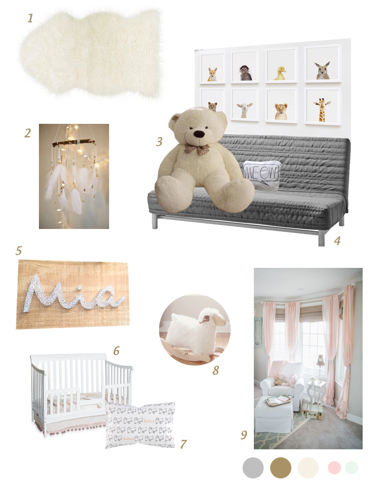 Furry, cozy, almost neutral nursery inspiration board
