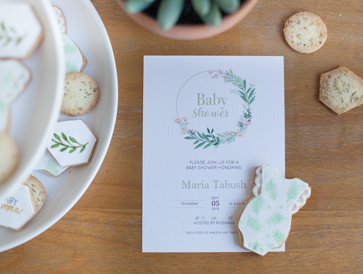 Floral greenery baby shower invitation