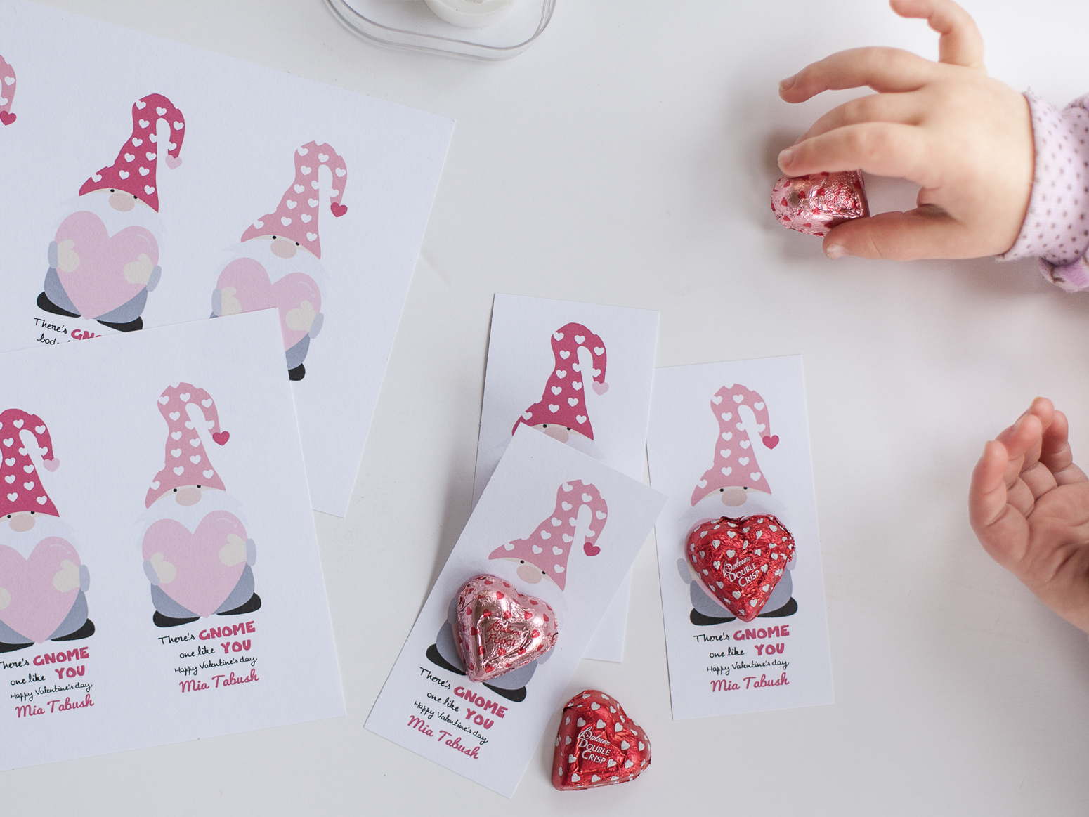 Valentines gnome chocolate printable